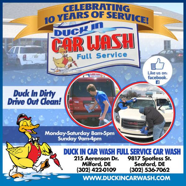 Duck In Car Wash Milford Delaware Ad